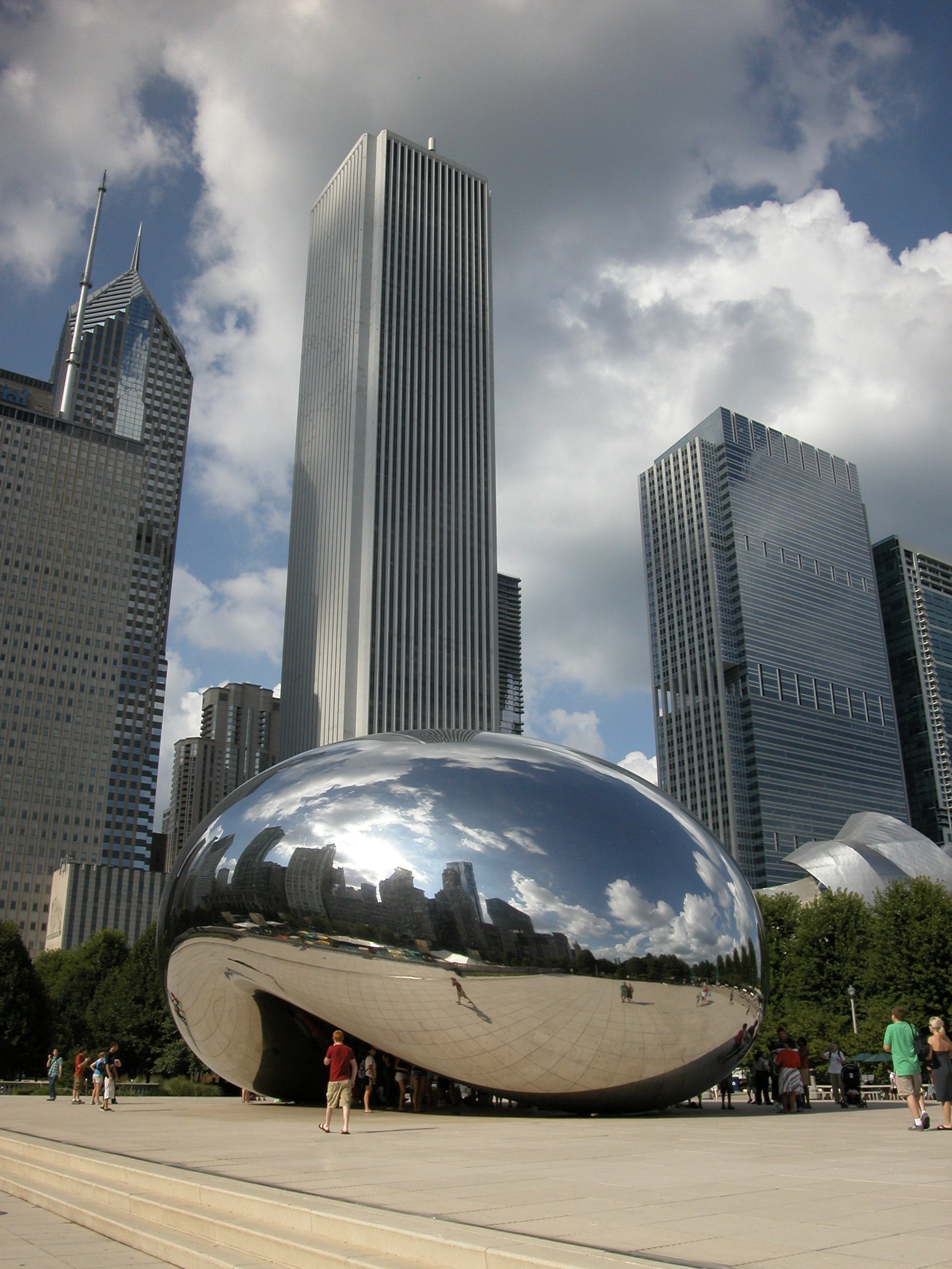 Wherever you go in Chicago, it's important to keep looking up at the city's fabulous architecture.  Above, one of the latest additions to  Chicago's skyline, Cloud Gate, a.k.a. The Bean.