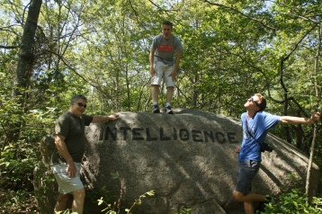 Intelligence gathering along the Babson Boulder Trail.
