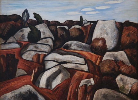 """Dogtown was the subject of many works by painter Marsden Hartley.  You can see """"Rock Doxology"""" in the Cape Ann Museum, Gloucester, Mass."""