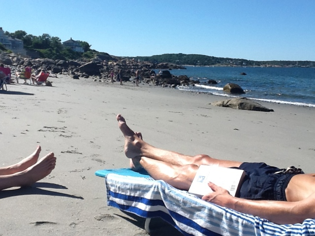 Beach reading, Rockport, Mass.