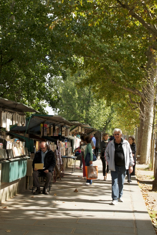 """Strolling among the """"bouquinistes"""" along the Seine in Paris."""