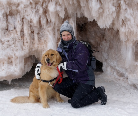 Duffy came along on our ice adventure to the sea caves, Apostle Islands National Lakeshore.