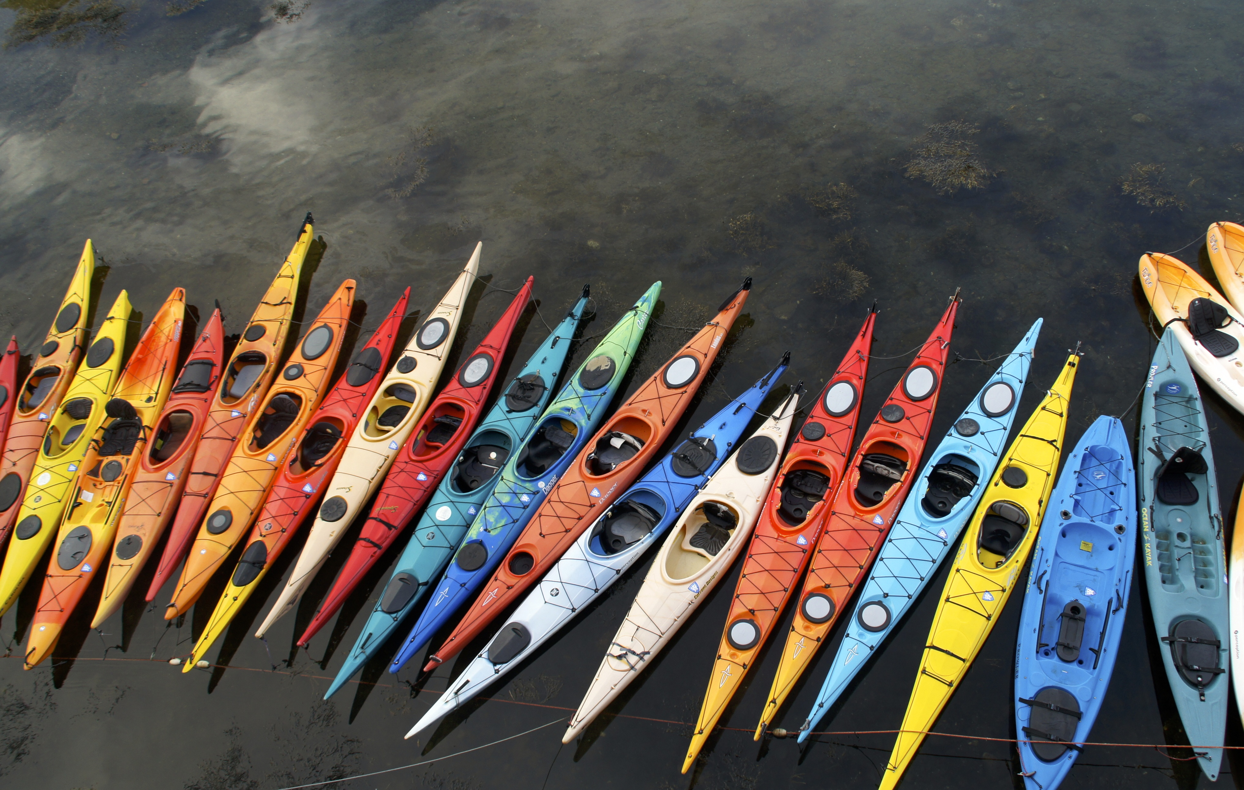 Kayaks ready for a spin in Rockport Harbor, Massachusetts.