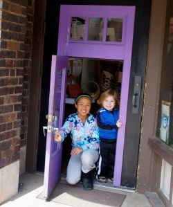 Exiting Wild Rumpus through the child-size purple door.