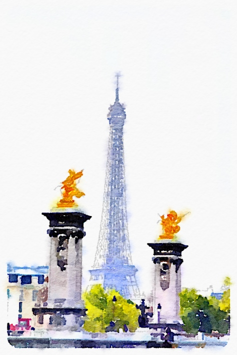 The Eiffel Tower, with the Waterlogue app.