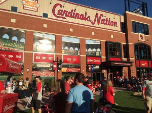 From the field at Busch II, outside Baseball Village, the windows reflect the Cardinals' Busch Stadium.