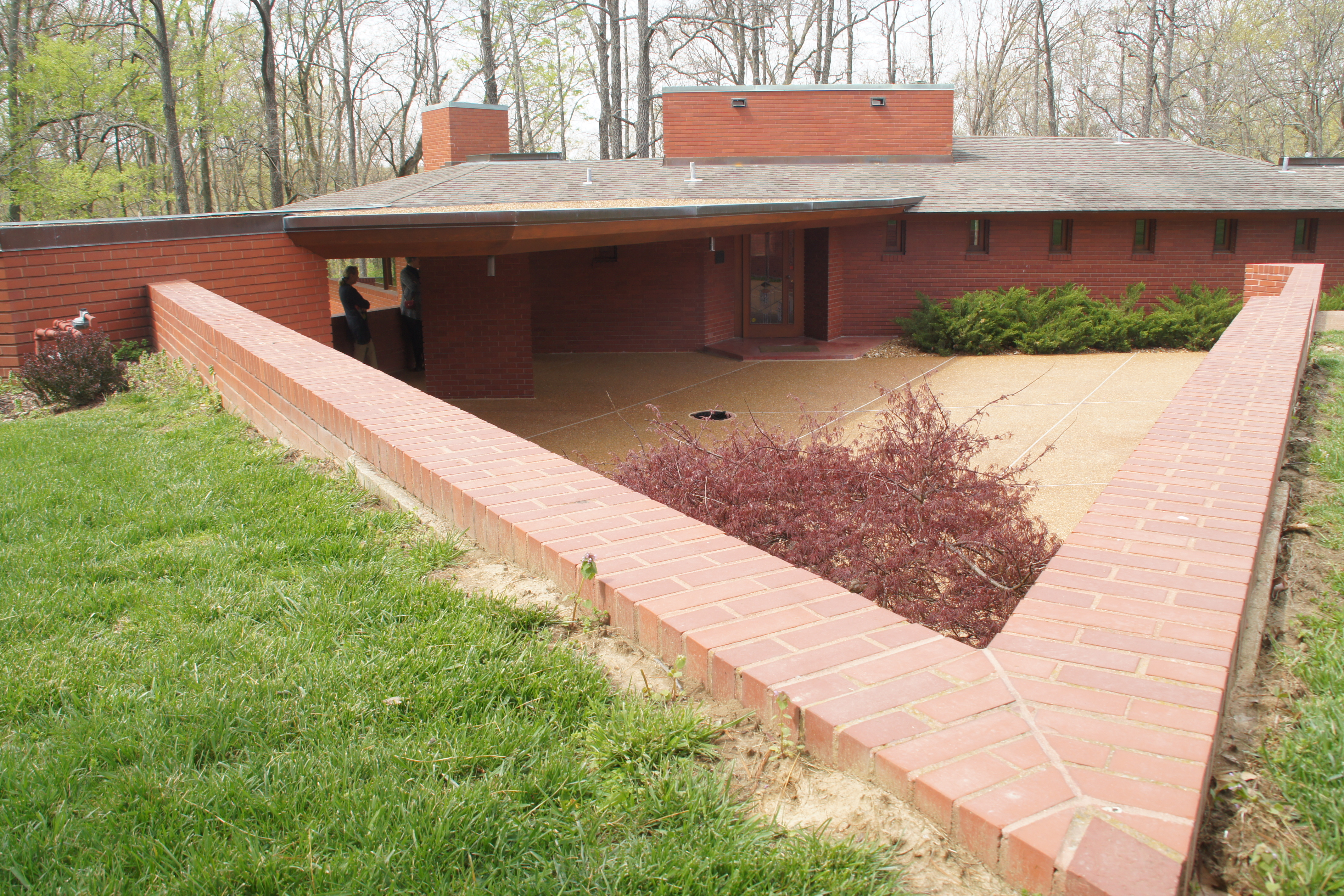 The super-angular patio of the Frank Lloyd Wright House in Ebsworth Park, Kirkwood, MO