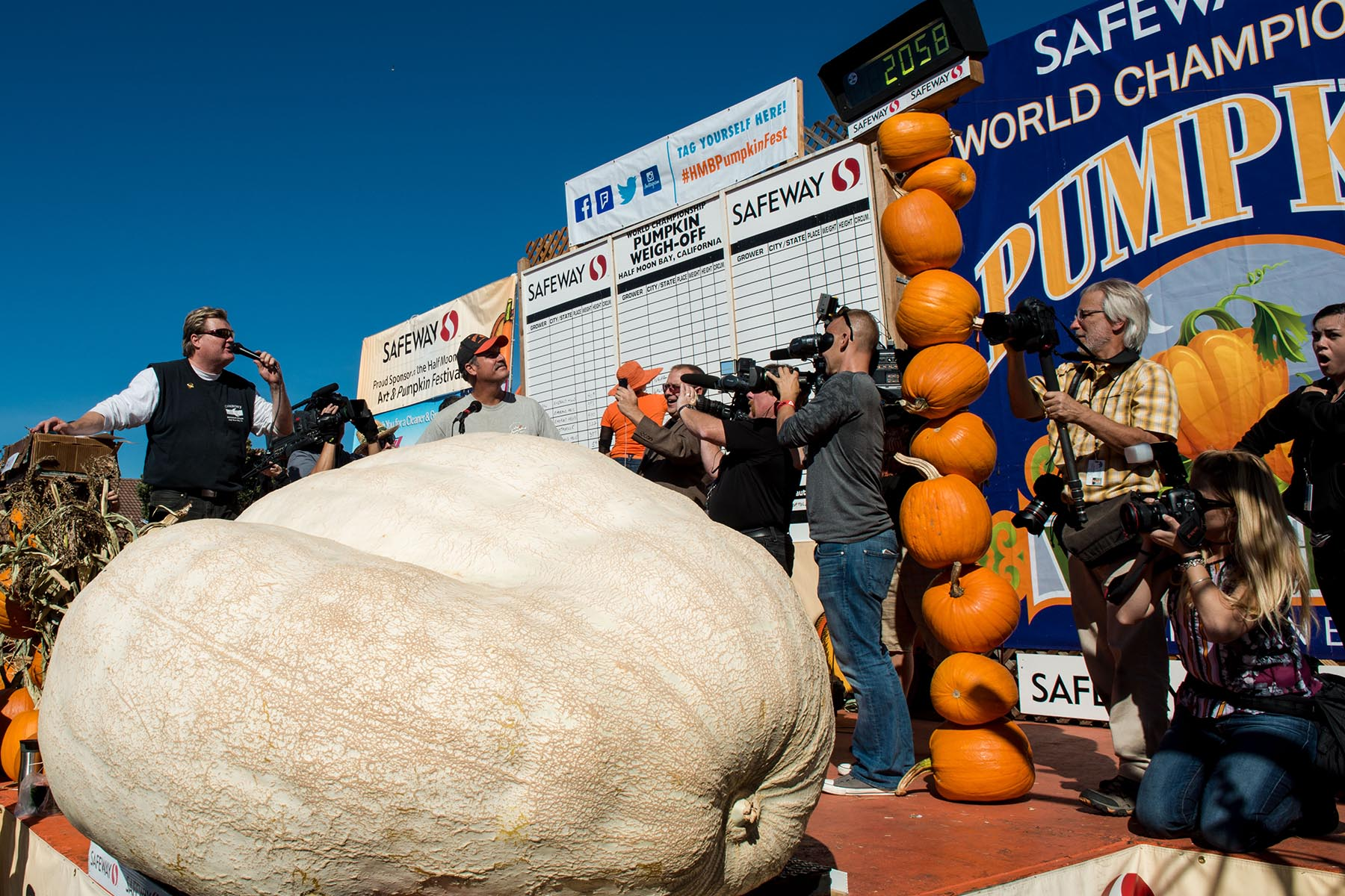 The winner of the 2014 pumpkin weigh off in Half Moon Bay, California. Photo courtesy of Miramar events.