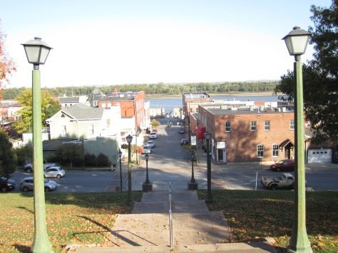 """""""Gone Girl"""" director David Fincher said that the view from the Common Pleas Courthouse stairs overlooking the river is what sold him on Cape Girardeau, Missouri, as North Carthage in his movie."""