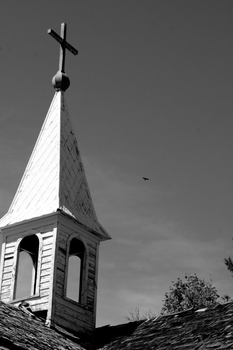 The steeple at the chapel of Bishop's Lodge, just outside Santa Fe.  The chapel was built for the priest, Bishop Lamy, who was the inspiration for Willa Cather's novel Death Comes for the Archbishop.