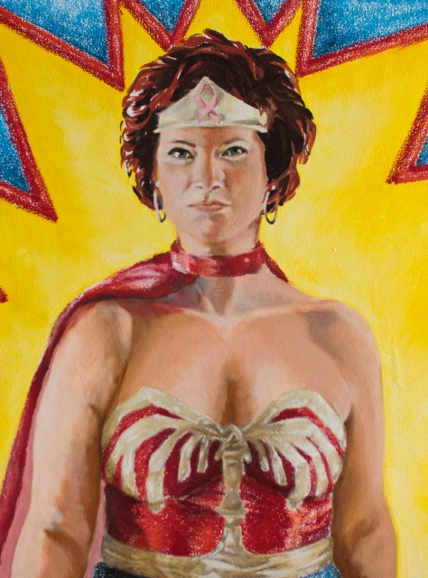 Wonder Woman Katy a super-size painting by artist Barbara Porwit on display at the University of Minnesota's Nash Gallery, part of the  WonderWomen exhibit. (photo by Doug Webb connectartists.com)