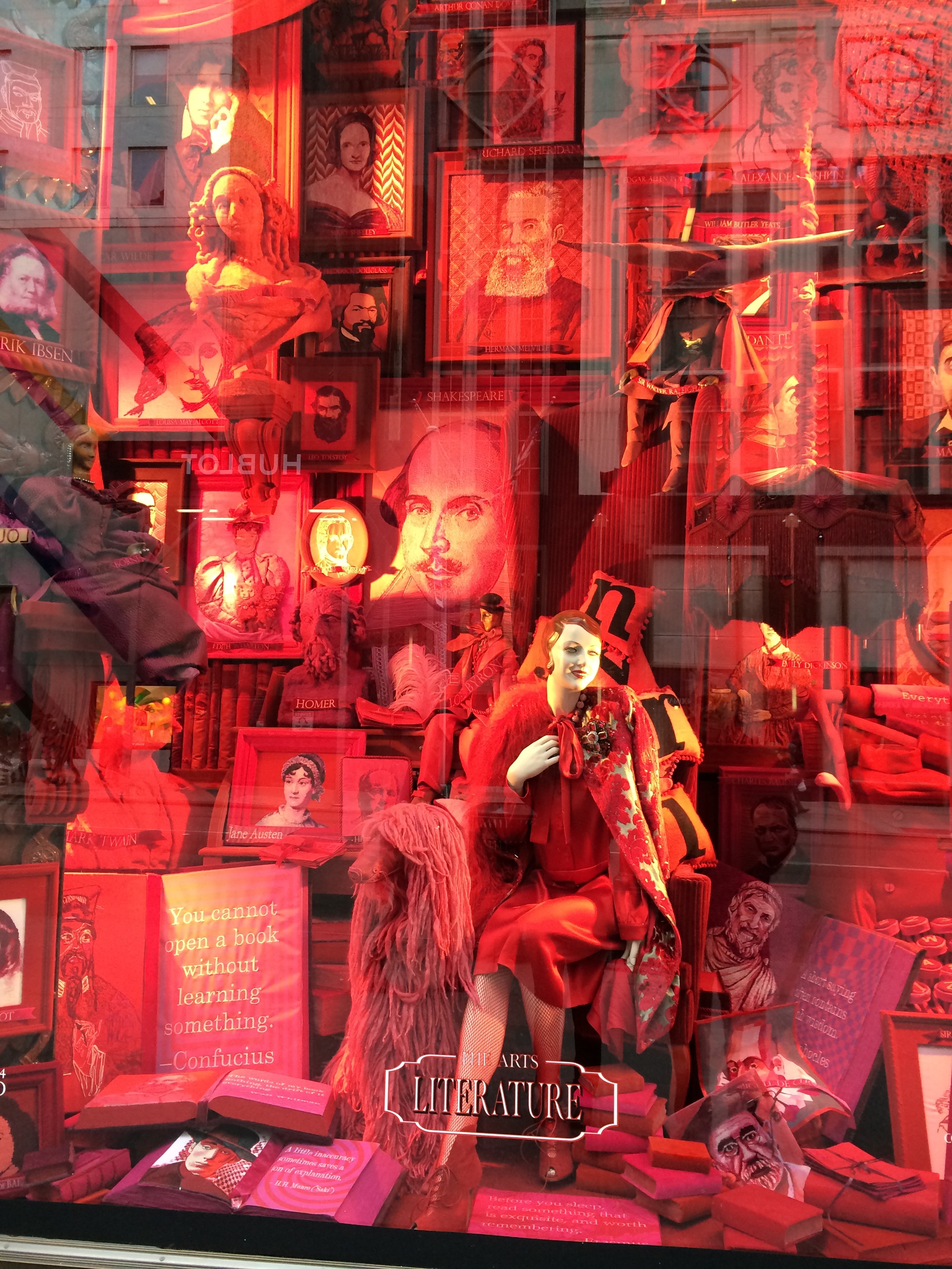 Fabulously ornate windows at Bergdorf Goodman. The subject of this window: Literature. How many authors can you find.