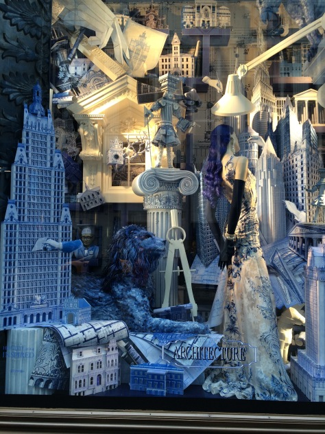 Architecture was the theme of this window at Bergdorf Goodman in New York City.