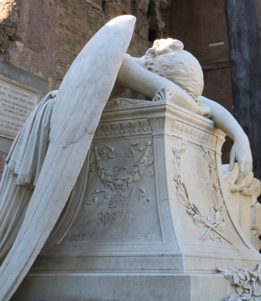 angel weeping on a tomb in Rome www.offthebeatenpagetravel.com