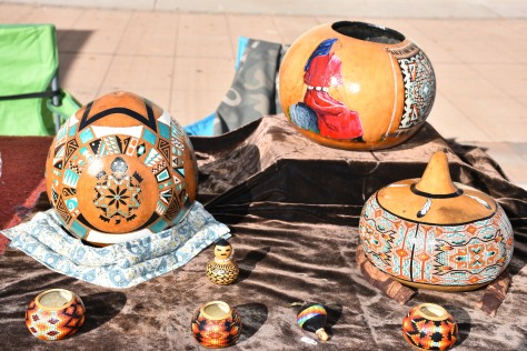 painted gourds at Las Cruces Farmers Market www.offthebeatenpagetravel.com