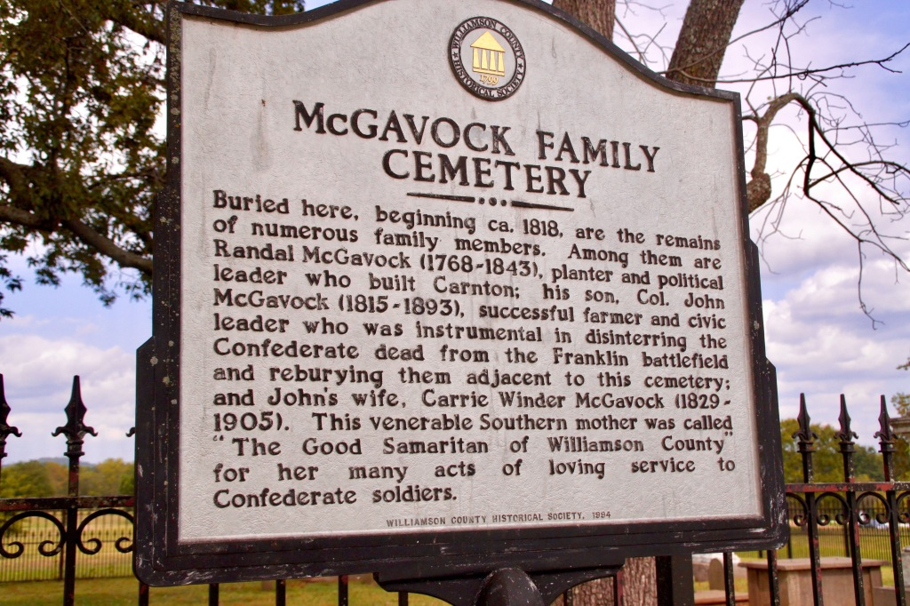 "sign describes Carrie McGavock as ""The Good Samaritan of Williamson County."""