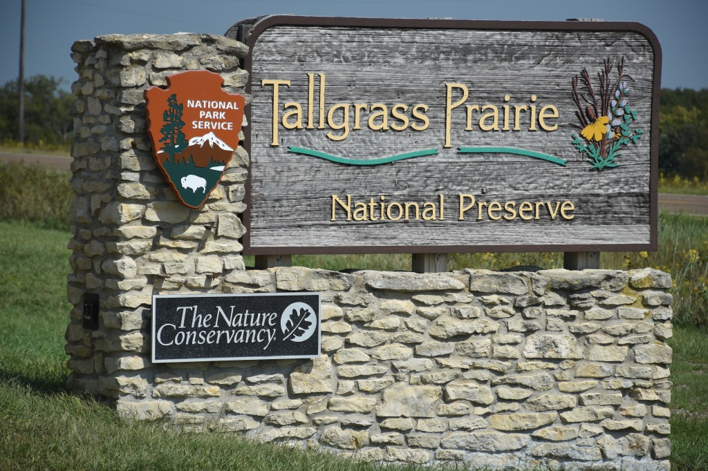 sign at entrance of Tallgrass Prairie National Preserve
