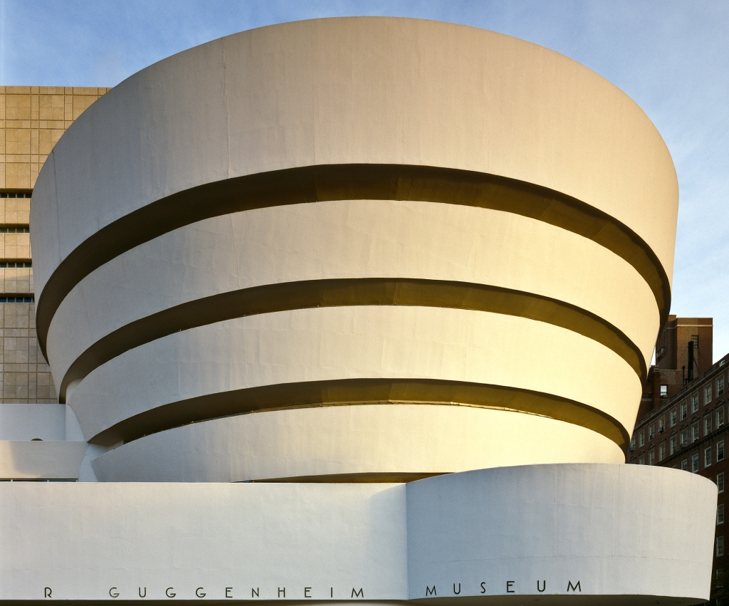 exterior of Solomon R. Guggenheim Museum in New York city designed by Frank Lloyd Wright